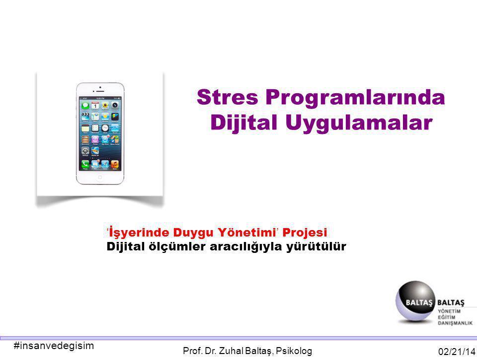 #insanvedegisim 02/21/14 Prof. Dr. Zuhal Baltaş, Psikolog ' İşyerinde Duygu Yönetimi ' Projesi Dijital ölçümler aracılığıyla yürütülür Stres Programla