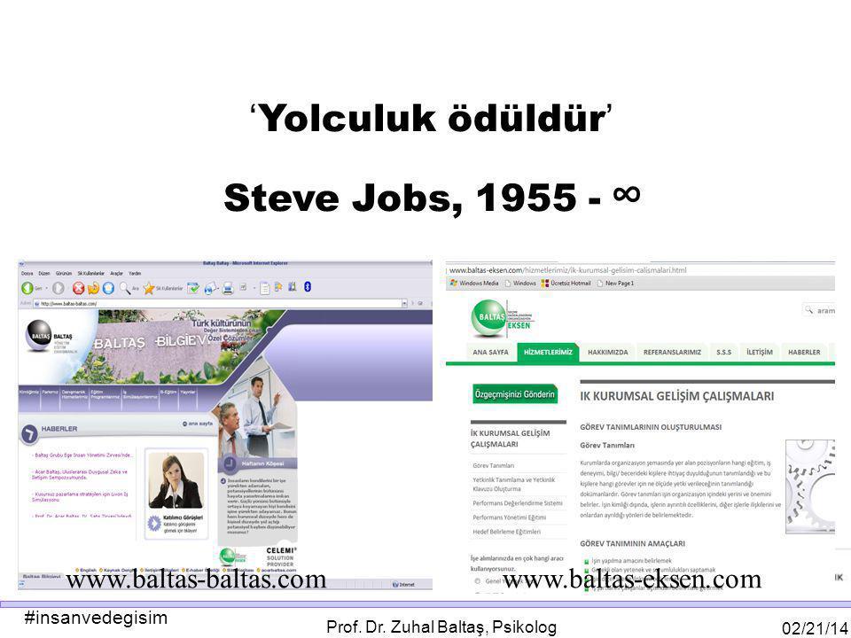 #insanvedegisim 02/21/14 Prof. Dr. Zuhal Baltaş, Psikolog www.baltas-baltas.com www.baltas-eksen.com ' Yolculuk ödüldür ' Steve Jobs, 1955 - ∞
