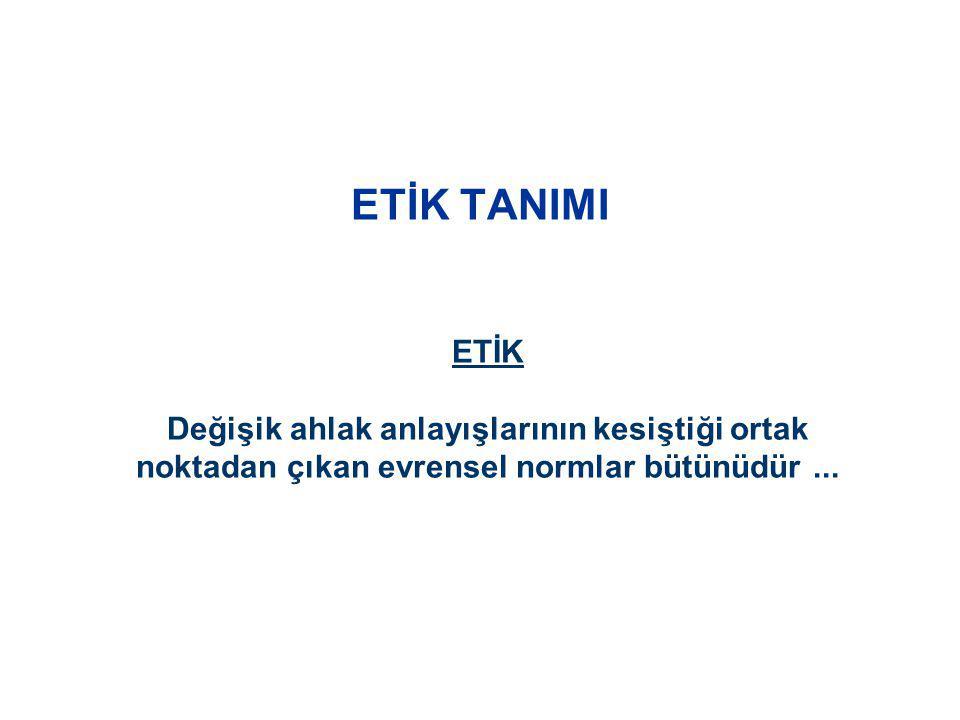 ETİK ÖRNEKLERİ Uluslararası Etik Medya Etiği Akademik Etik Satış ve Reklam Etiği Spor Etiği (Centilmenlik - Fairplay ) Politik Etik Profesyonel Etik ( İş Ahlakı )