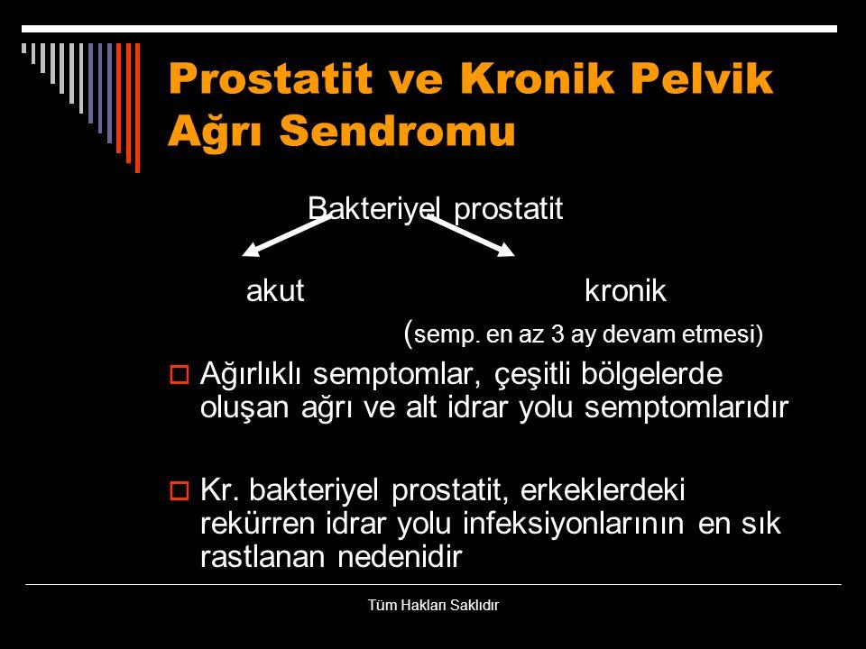 Prostatit ve Kronik Pelvik Ağrı Sendromu Bakteriyel prostatit akut kronik ( semp. en az 3 ay devam etmesi)  Ağırlıklı semptomlar, çeşitli bölgelerde