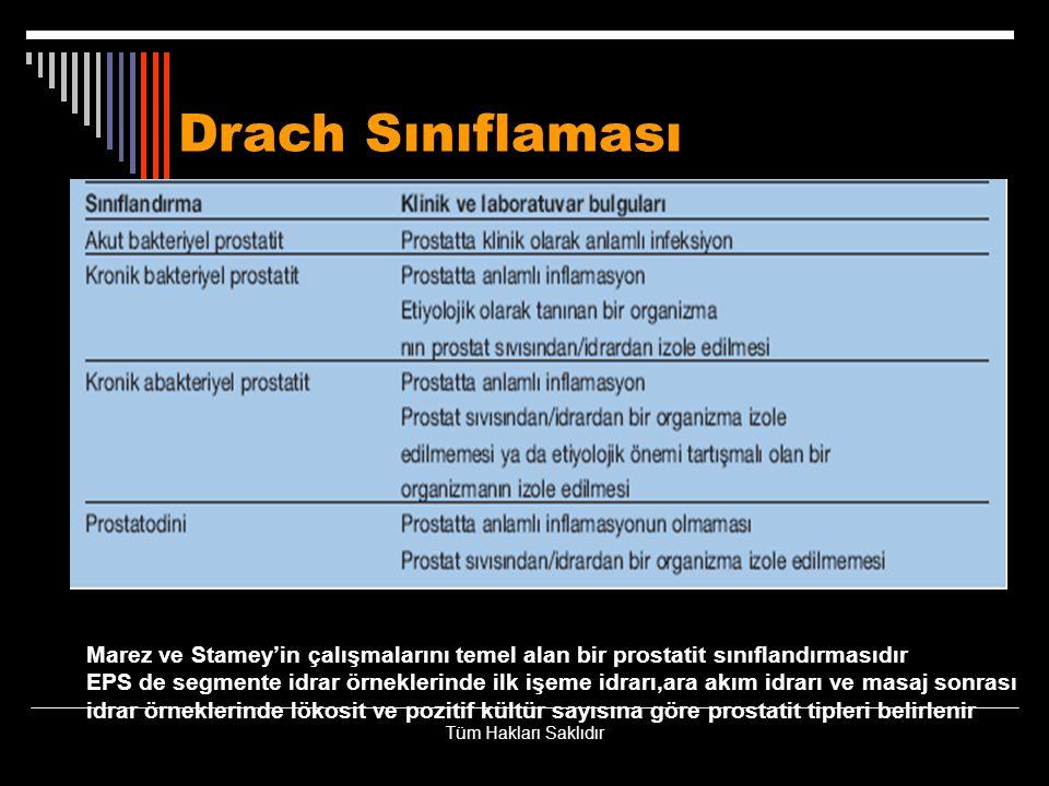 Drach Sınıflaması Marez ve Stamey'in çalışmalarını temel alan bir prostatit sınıflandırmasıdır EPS de segmente idrar örneklerinde ilk işeme idrarı,ara