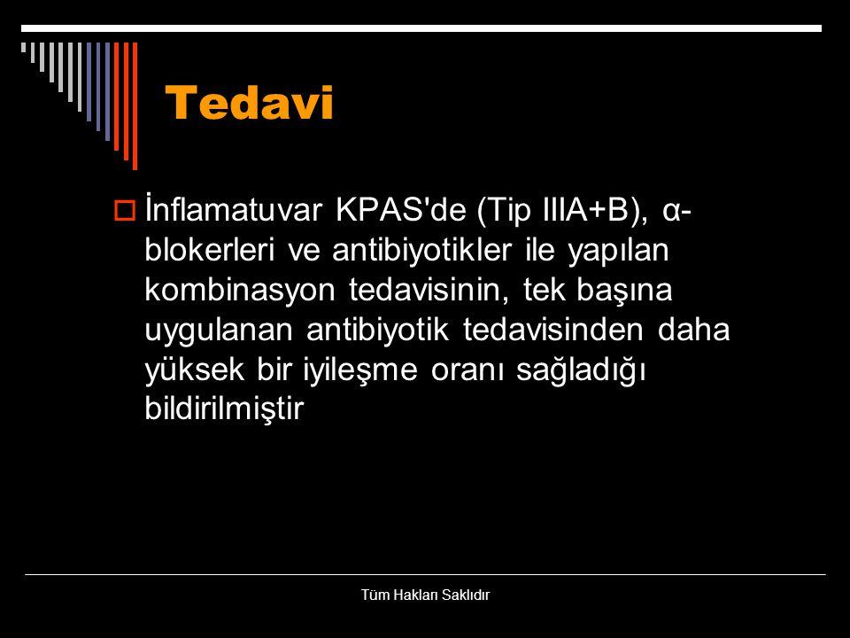 Tedavi  İnflamatuvar KPAS'de (Tip IIIA+B), α- blokerleri ve antibiyotikler ile yapılan kombinasyon tedavisinin, tek başına uygulanan antibiyotik teda