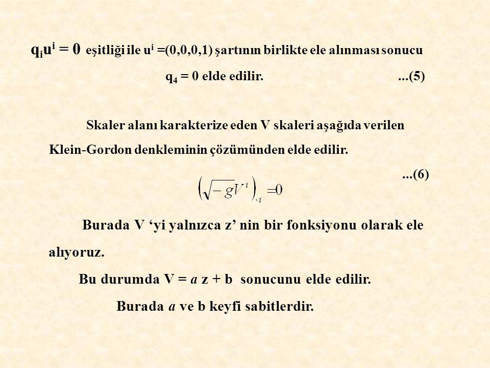 q i u i = 0 eşitliği ile u i =(0,0,0,1) şartının birlikte ele alınması sonucu q 4 = 0 elde edilir....(5) Skaler alanı karakterize eden V skaleri aşağıda verilen Klein-Gordon denkleminin çözümünden elde edilir....(6) Burada V 'yi yalnızca z' nin bir fonksiyonu olarak ele alıyoruz.