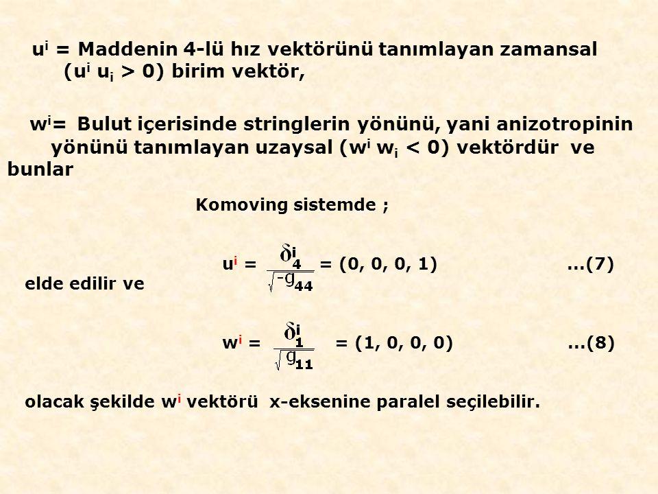 Komoving sistemde ; u i = = (0, 0, 0, 1)...(7) elde edilir ve w i = = (1, 0, 0, 0)...(8) olacak şekilde w i vektörü x-eksenine paralel seçilebilir.