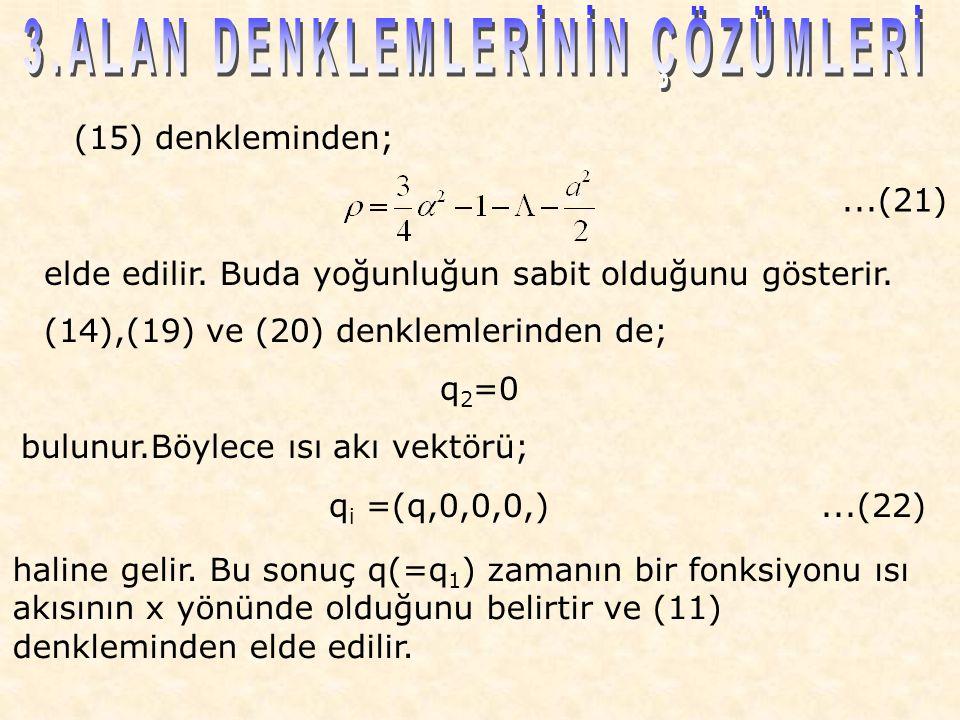 (15) denkleminden; elde edilir. Buda yoğunluğun sabit olduğunu gösterir.