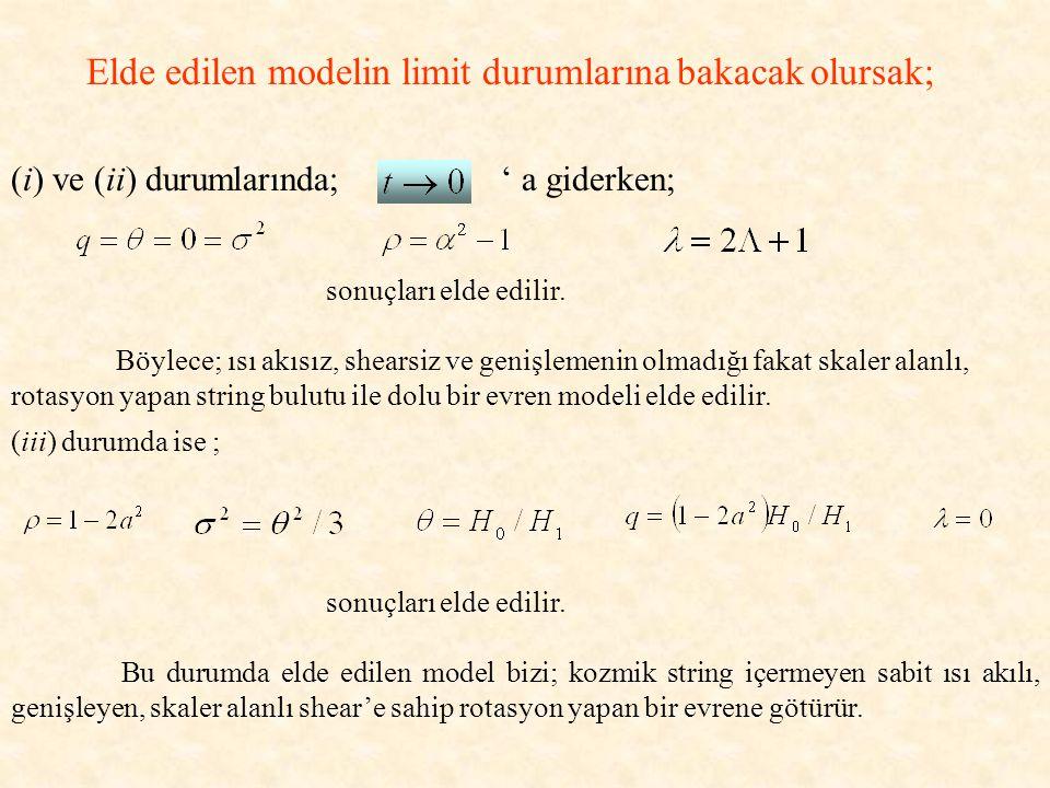 Elde edilen modelin limit durumlarına bakacak olursak; (i) ve (ii) durumlarında; ' a giderken; sonuçları elde edilir.