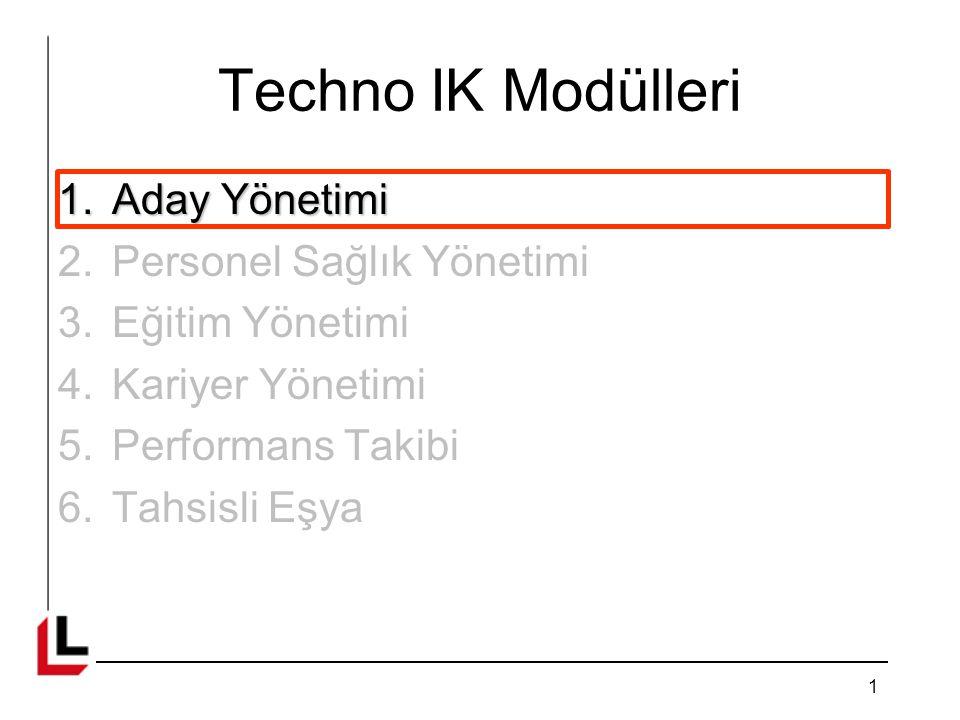 Techno IK Modülleri 1.Aday Yönetimi 2.Personel Sağlık Yönetimi 3.Eğitim Yönetimi 4.Kariyer Yönetimi 5.Performans Takibi 6.Tahsisli Eşya 1
