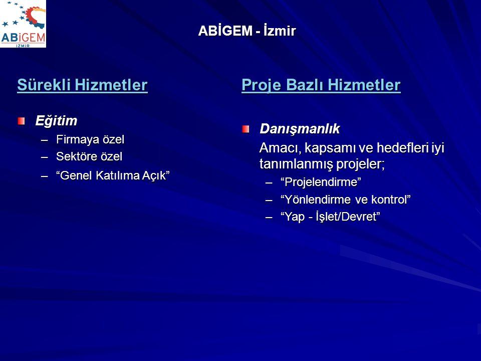 """ABİGEM - İzmir Sürekli Hizmetler Eğitim –Firmaya özel –Sektöre özel –""""Genel Katılıma Açık"""" Proje Bazlı Hizmetler Danışmanlık Amacı, kapsamı ve hedefle"""