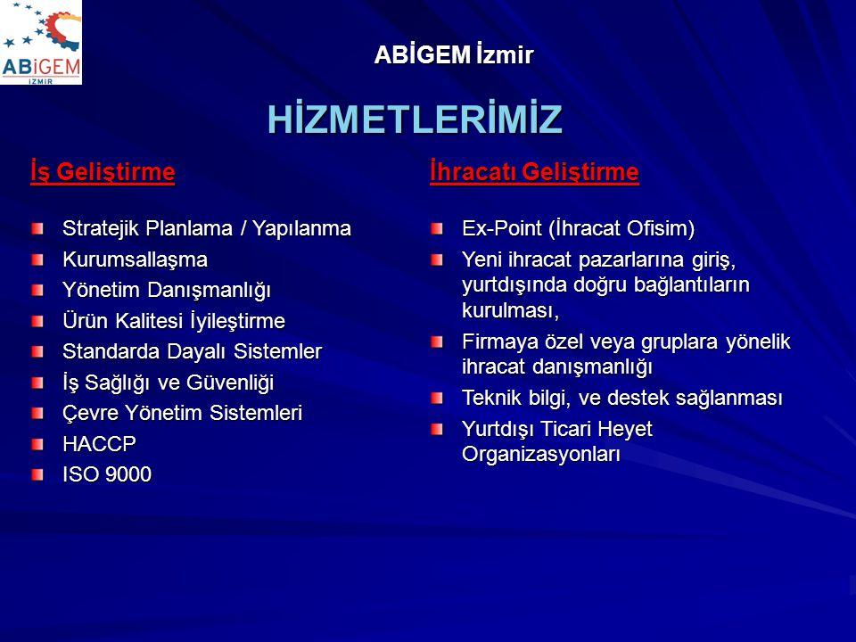 İş Geliştirme Stratejik Planlama / Yapılanma Kurumsallaşma Yönetim Danışmanlığı Ürün Kalitesi İyileştirme Standarda Dayalı Sistemler İş Sağlığı ve Güvenliği Çevre Yönetim Sistemleri HACCP ISO 9000 HİZMETLERİMİZ ABİGEM İzmir İhracatı Geliştirme Ex-Point (İhracat Ofisim) Yeni ihracat pazarlarına giriş, yurtdışında doğru bağlantıların kurulması, Firmaya özel veya gruplara yönelik ihracat danışmanlığı Teknik bilgi, ve destek sağlanması Yurtdışı Ticari Heyet Organizasyonları