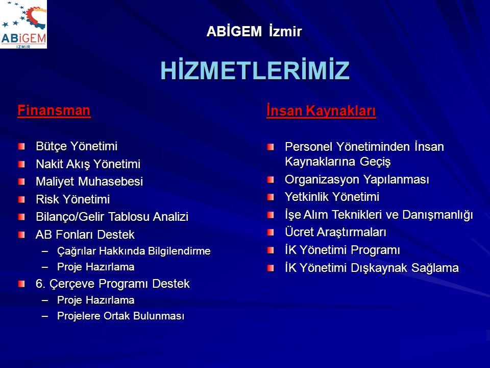 ABİGEM - İzmir Sürekli Hizmetler Eğitim –Firmaya özel –Sektöre özel – Genel Katılıma Açık Proje Bazlı Hizmetler Danışmanlık Amacı, kapsamı ve hedefleri iyi tanımlanmış projeler; – Projelendirme – Yönlendirme ve kontrol – Yap - İşlet/Devret