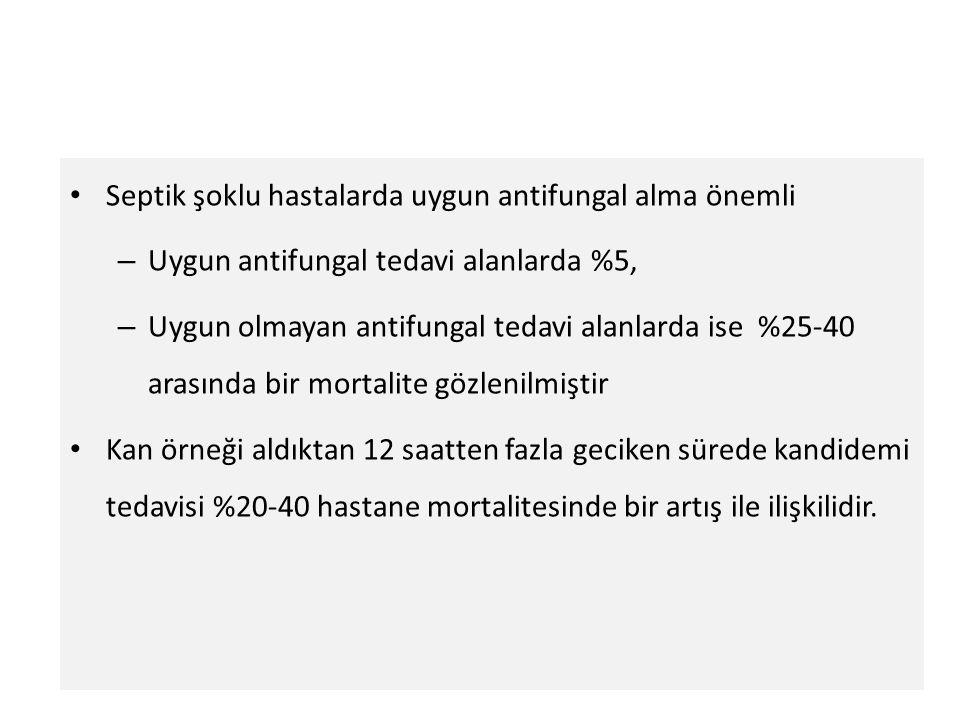Septik şoklu hastalarda uygun antifungal alma önemli – Uygun antifungal tedavi alanlarda %5, – Uygun olmayan antifungal tedavi alanlarda ise %25-40 ar