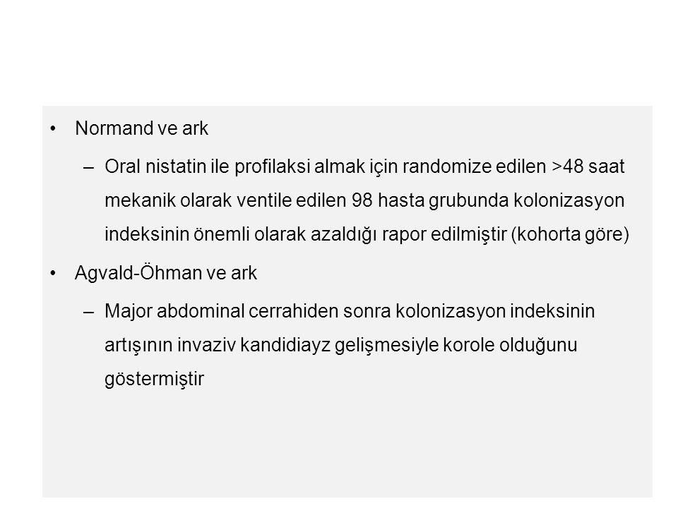 Normand ve ark –Oral nistatin ile profilaksi almak için randomize edilen >48 saat mekanik olarak ventile edilen 98 hasta grubunda kolonizasyon indeksi