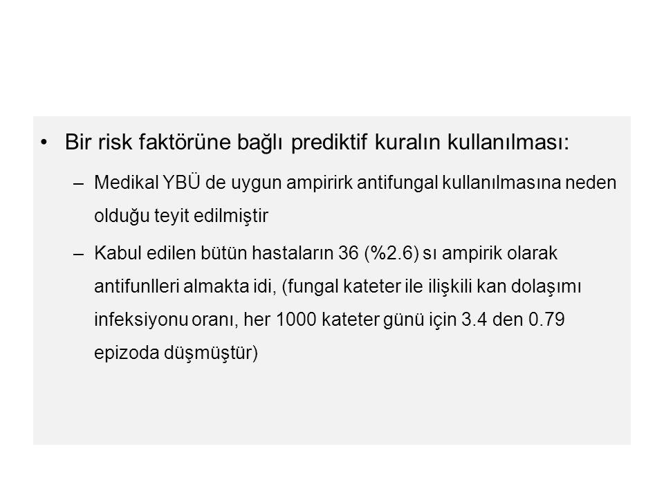 Bir risk faktörüne bağlı prediktif kuralın kullanılması: –Medikal YBÜ de uygun ampirirk antifungal kullanılmasına neden olduğu teyit edilmiştir –Kabul