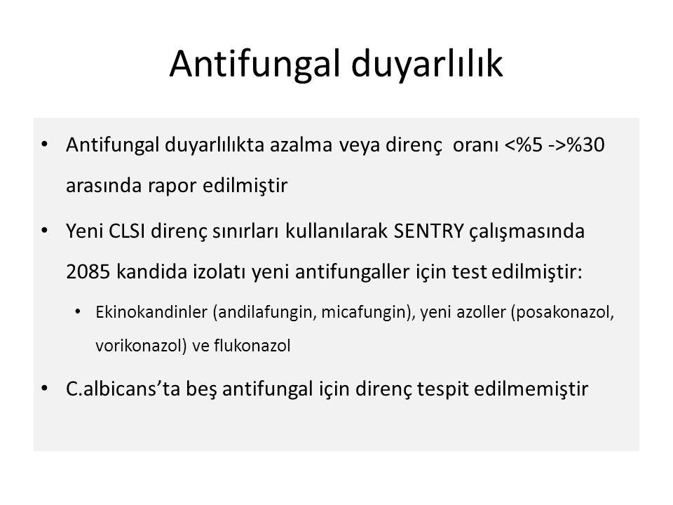 Antifungal duyarlılık Antifungal duyarlılıkta azalma veya direnç oranı %30 arasında rapor edilmiştir Yeni CLSI direnç sınırları kullanılarak SENTRY ça