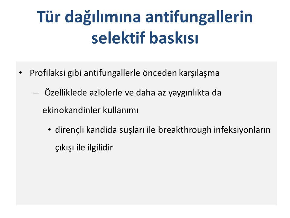 Tür dağılımına antifungallerin selektif baskısı Profilaksi gibi antifungallerle önceden karşılaşma – Özelliklede azlolerle ve daha az yaygınlıkta da e