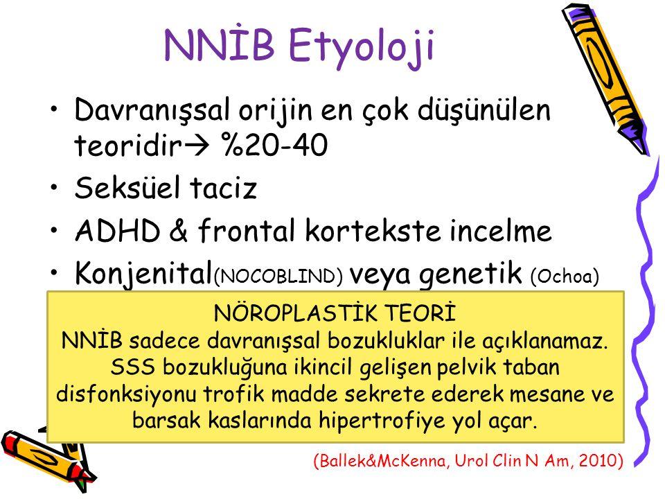 NNİB Etyoloji Davranışsal orijin en çok düşünülen teoridir  %20-40 Seksüel taciz ADHD & frontal kortekste incelme Konjenital (NOCOBLIND) veya genetik