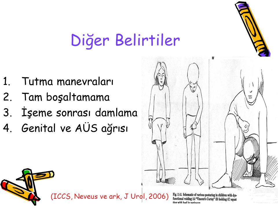 Diğer Belirtiler 1.Tutma manevraları 2.Tam boşaltamama 3.İşeme sonrası damlama 4.Genital ve AÜS ağrısı (ICCS, Neveus ve ark, J Urol, 2006)