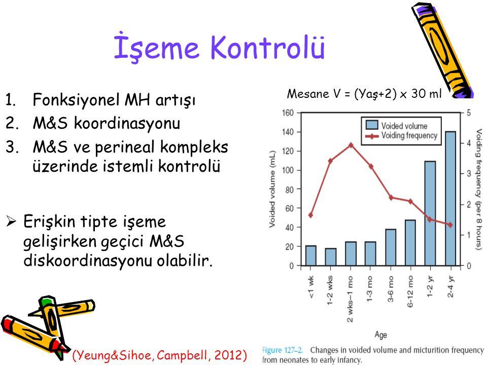 İşeme Kontrolü Mesane V = (Yaş+2) x 30 ml  Erişkin tipte işeme gelişirken geçici M&S diskoordinasyonu olabilir. 1.Fonksiyonel MH artışı 2.M&S koordin