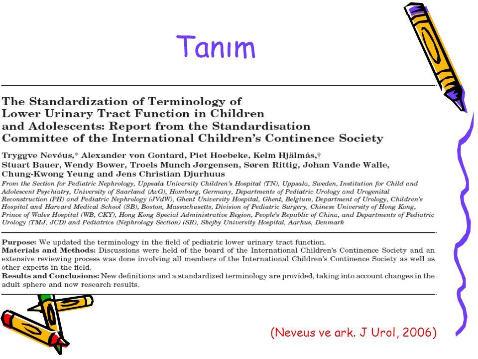 Gündüz AÜS Durumları Yaş ile azalan %2-20 prevalans 1.Depolama fazı disfonksiyonu: Çocukluktaki AAM 2.Boşaltma fazı disfonksiyonu: Disfonksiyonel işeme (EAU Kılavuzu, 2010)