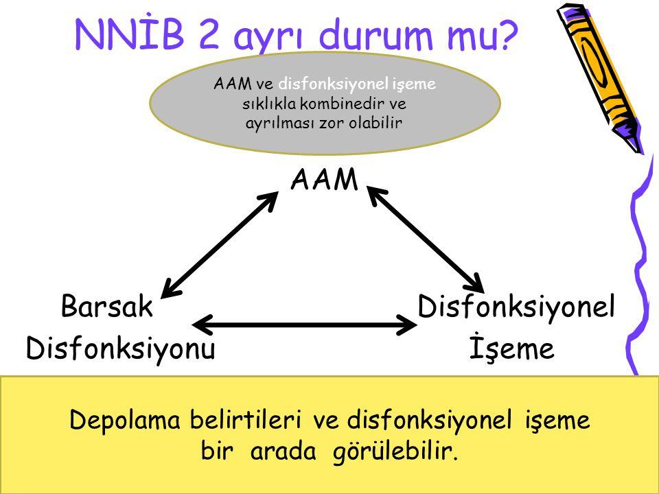 NNİB 2 ayrı durum mu? AAM Barsak Disfonksiyonel Disfonksiyonu İşeme 1.Depolama fazı disfonksiyonu: Çocukluktaki AAM 2.Boşaltma fazı disfonksiyonu: Dis