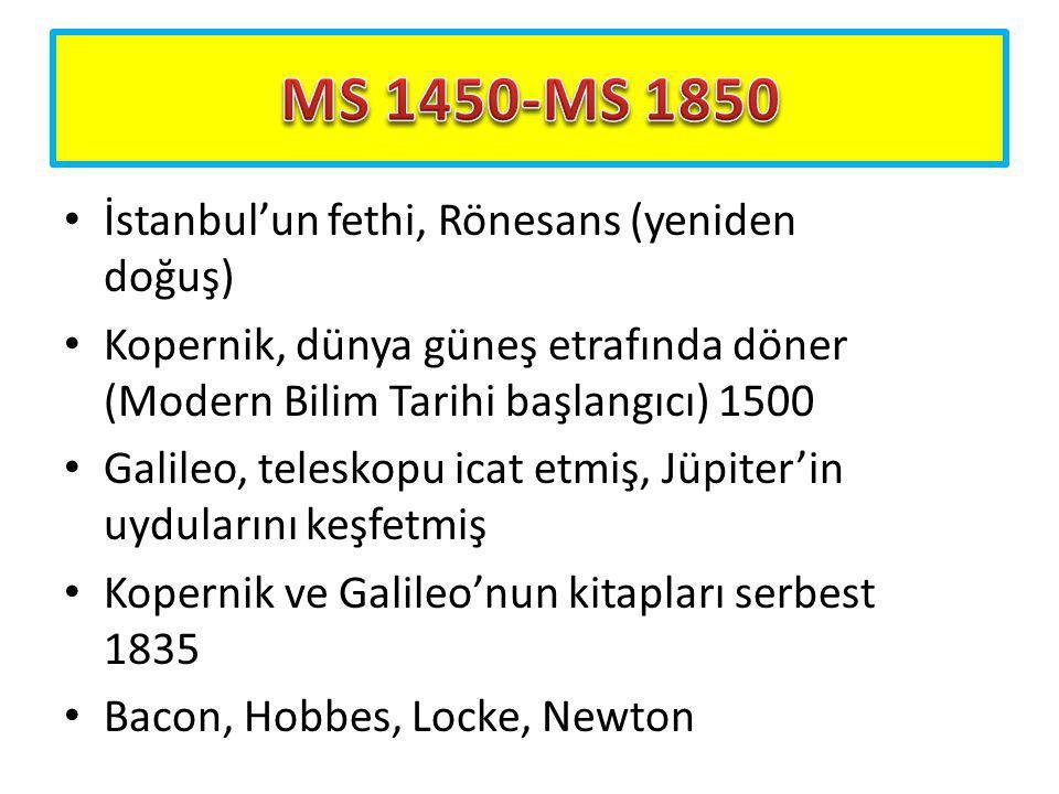 İstanbul'un fethi, Rönesans (yeniden doğuş) Kopernik, dünya güneş etrafında döner (Modern Bilim Tarihi başlangıcı) 1500 Galileo, teleskopu icat etmiş,