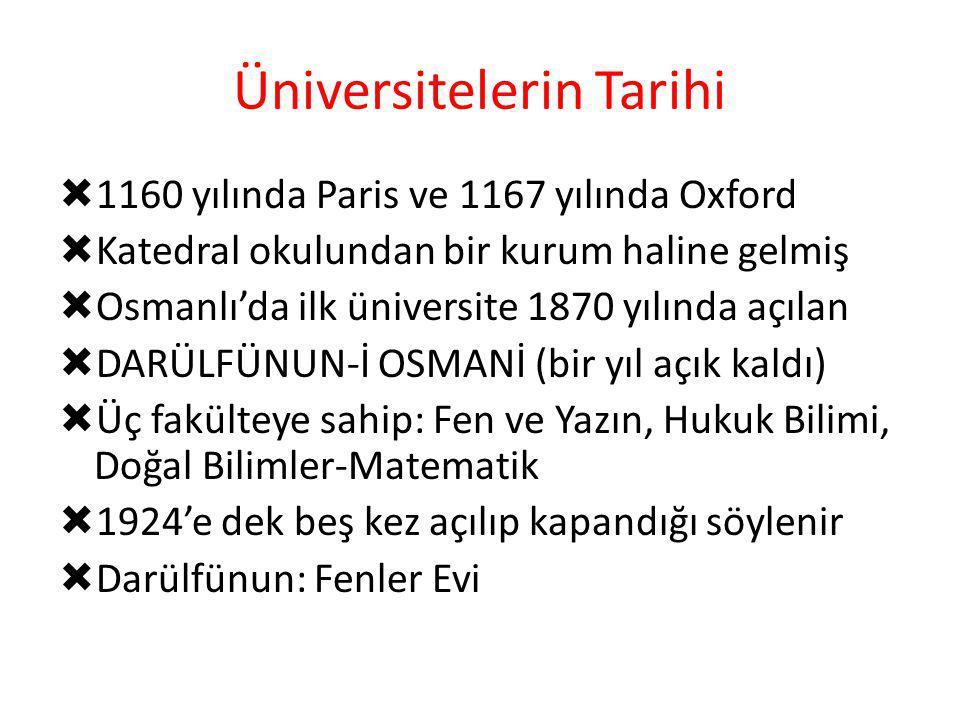 Üniversitelerin Tarihi  1160 yılında Paris ve 1167 yılında Oxford  Katedral okulundan bir kurum haline gelmiş  Osmanlı'da ilk üniversite 1870 yılın
