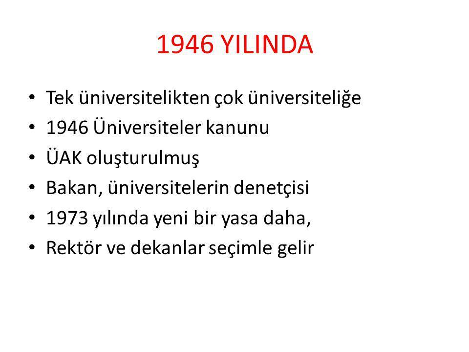 1946 YILINDA Tek üniversitelikten çok üniversiteliğe 1946 Üniversiteler kanunu ÜAK oluşturulmuş Bakan, üniversitelerin denetçisi 1973 yılında yeni bir