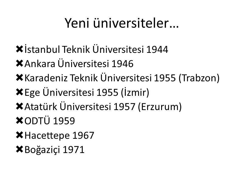 Yeni üniversiteler…  İstanbul Teknik Üniversitesi 1944  Ankara Üniversitesi 1946  Karadeniz Teknik Üniversitesi 1955 (Trabzon)  Ege Üniversitesi 1