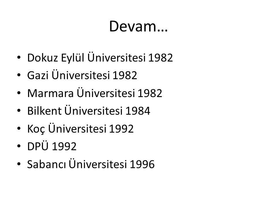 Devam… Dokuz Eylül Üniversitesi 1982 Gazi Üniversitesi 1982 Marmara Üniversitesi 1982 Bilkent Üniversitesi 1984 Koç Üniversitesi 1992 DPÜ 1992 Sabancı