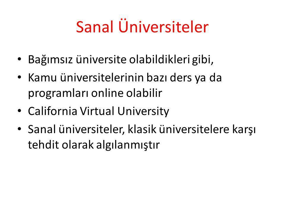 Sanal Üniversiteler Bağımsız üniversite olabildikleri gibi, Kamu üniversitelerinin bazı ders ya da programları online olabilir California Virtual Univ