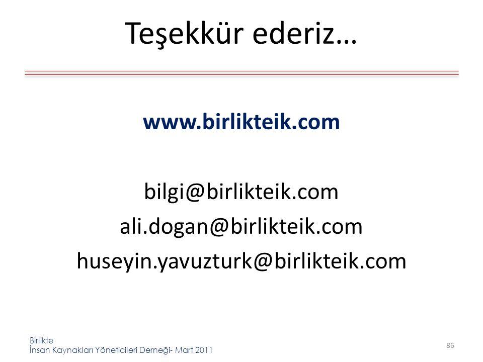 Birlikte İnsan Kaynakları Yöneticileri Derneği- Mart 2011 Teşekkür ederiz… www.birlikteik.com bilgi@birlikteik.com ali.dogan@birlikteik.com huseyin.yavuzturk@birlikteik.com 86