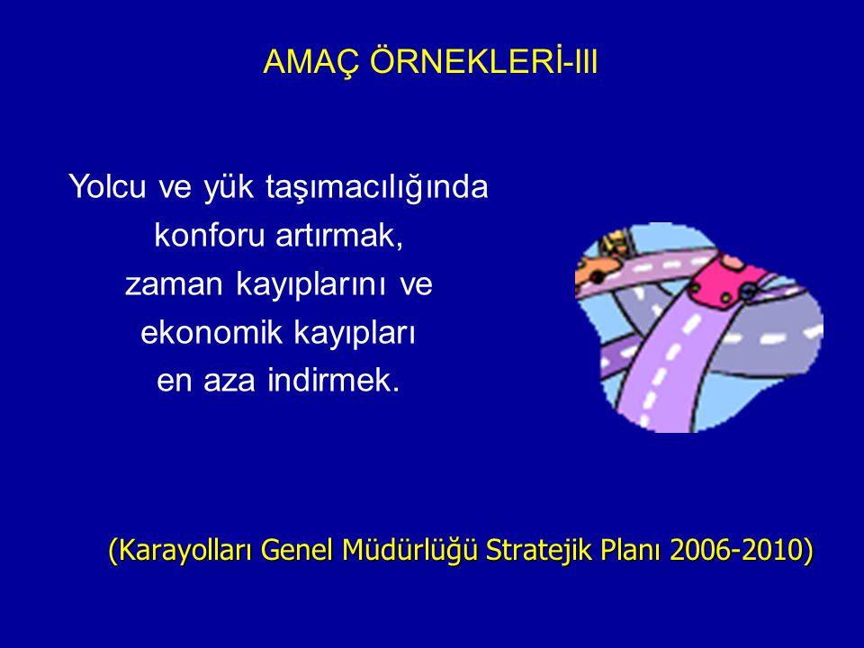 AMAÇ ÖRNEKLERİ-III (Karayolları Genel Müdürlüğü Stratejik Planı 2006-2010) Yolcu ve yük taşımacılığında konforu artırmak, zaman kayıplarını ve ekonomi