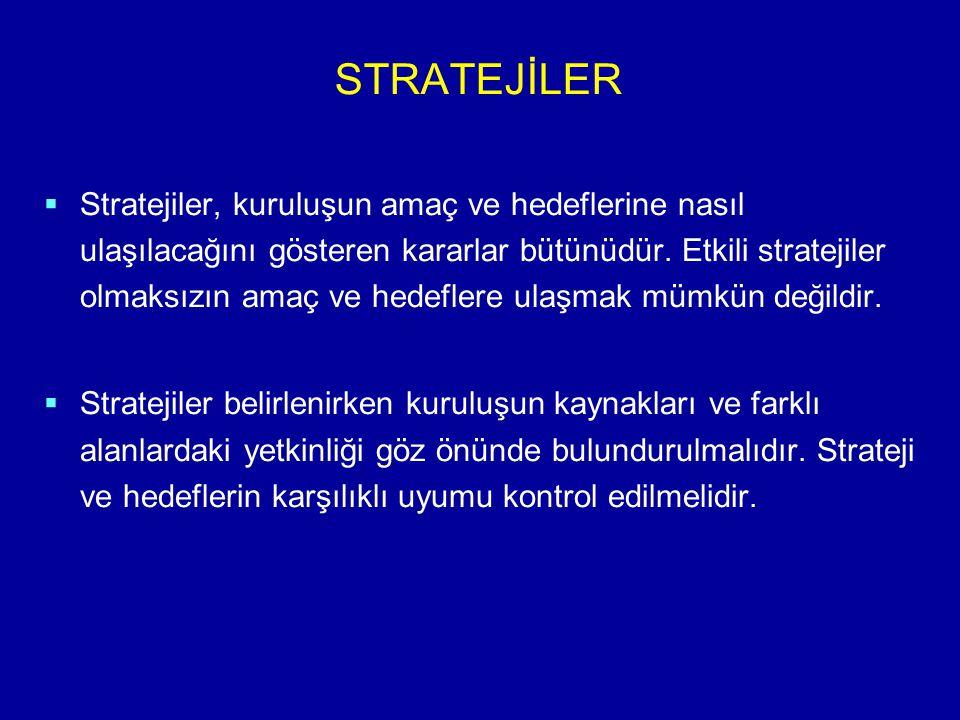 STRATEJİLER   Stratejiler, kuruluşun amaç ve hedeflerine nasıl ulaşılacağını gösteren kararlar bütünüdür. Etkili stratejiler olmaksızın amaç ve hede
