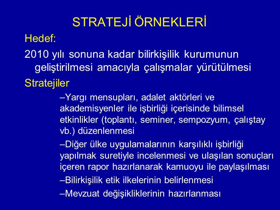 STRATEJİ ÖRNEKLERİ Hedef: 2010 yılı sonuna kadar bilirkişilik kurumunun geliştirilmesi amacıyla çalışmalar yürütülmesi Stratejiler – –Yargı mensupları