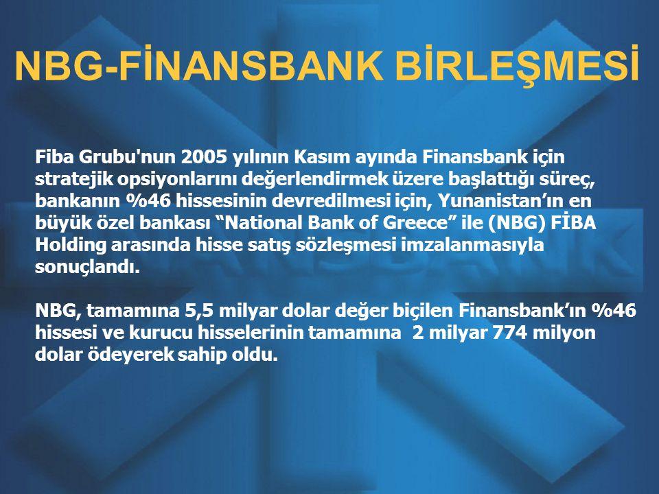 Fiba Grubu nun 2005 yılının Kasım ayında Finansbank için stratejik opsiyonlarını değerlendirmek üzere başlattığı süreç, bankanın %46 hissesinin devredilmesi için, Yunanistan'ın en büyük özel bankası National Bank of Greece ile (NBG) FİBA Holding arasında hisse satış sözleşmesi imzalanmasıyla sonuçlandı.