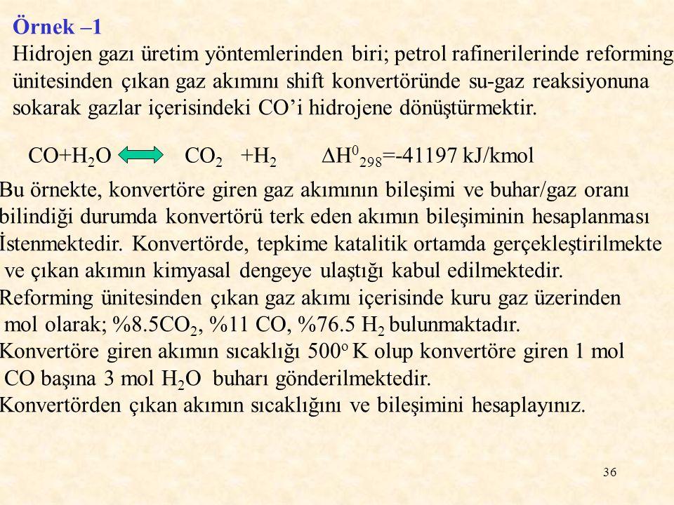 36 Örnek –1 Hidrojen gazı üretim yöntemlerinden biri; petrol rafinerilerinde reforming ünitesinden çıkan gaz akımını shift konvertöründe su-gaz reaksi