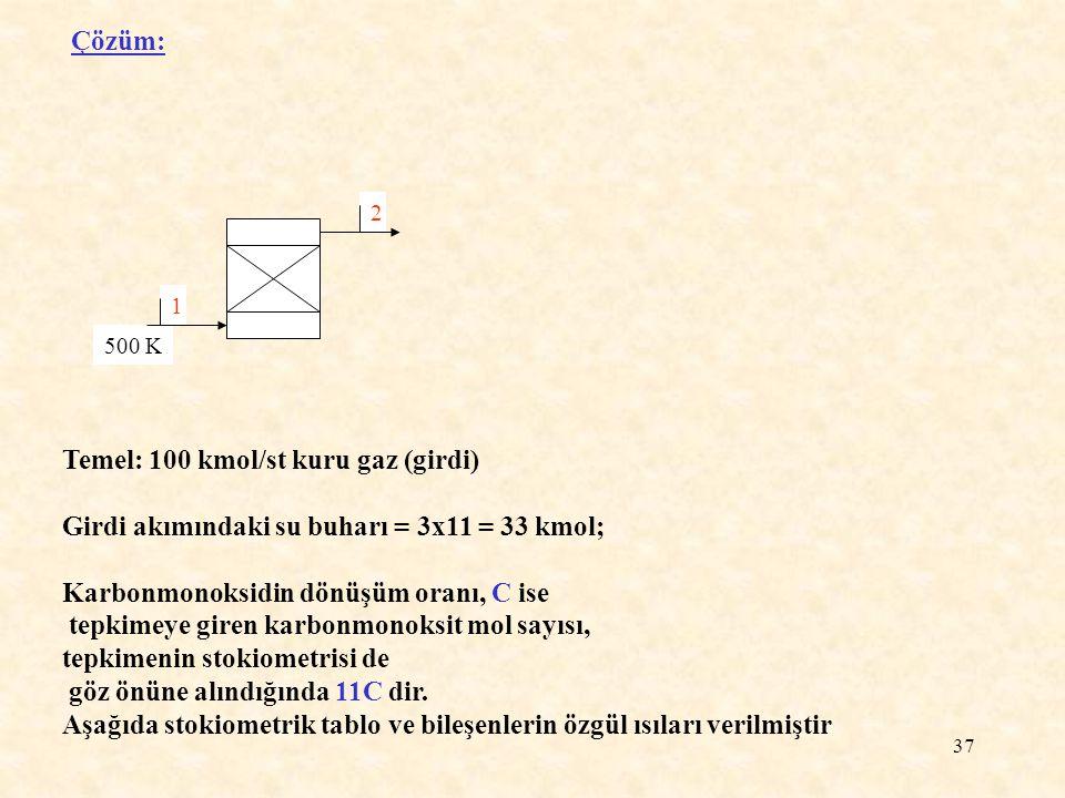 37 Çözüm: 500 K 2 1 Temel: 100 kmol/st kuru gaz (girdi) Girdi akımındaki su buharı = 3x11 = 33 kmol; Karbonmonoksidin dönüşüm oranı, C ise tepkimeye g