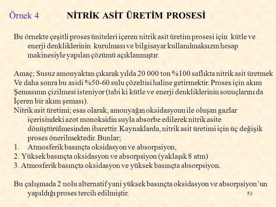 53 Örnek 4 NİTRİK ASİT ÜRETİM PROSESİ Bu örnekte çeşitli proses üniteleri içeren nitrik asit üretim prosesi için kütle ve enerji denkliklerinin kurulm
