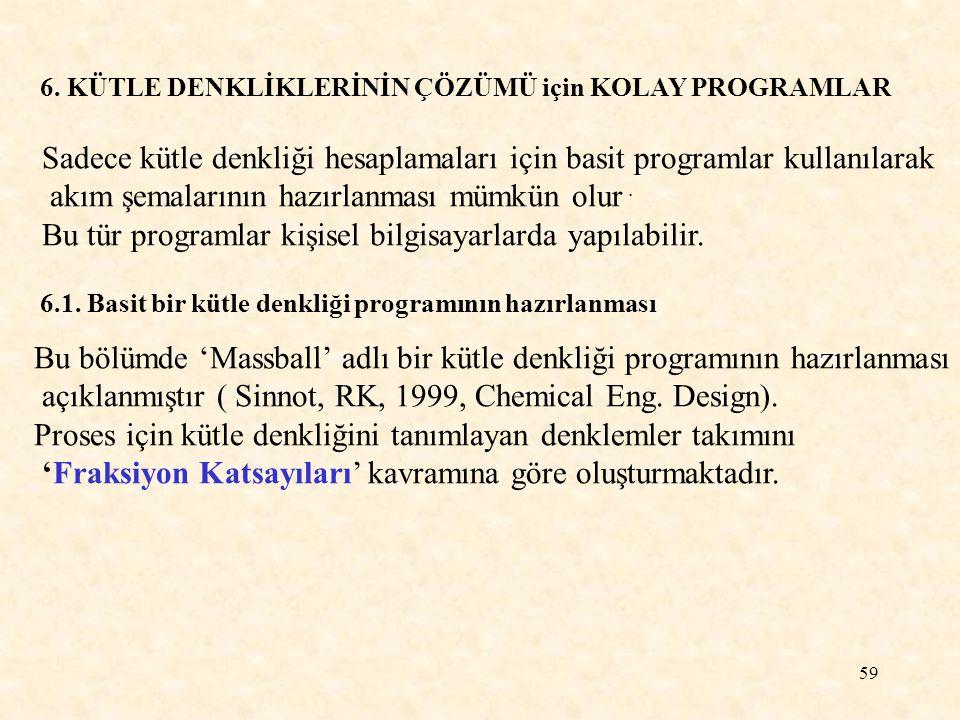 59 6. KÜTLE DENKLİKLERİNİN ÇÖZÜMÜ için KOLAY PROGRAMLAR Sadece kütle denkliği hesaplamaları için basit programlar kullanılarak akım şemalarının hazırl