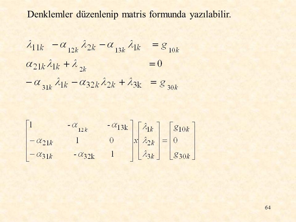 64 Denklemler düzenlenip matris formunda yazılabilir.