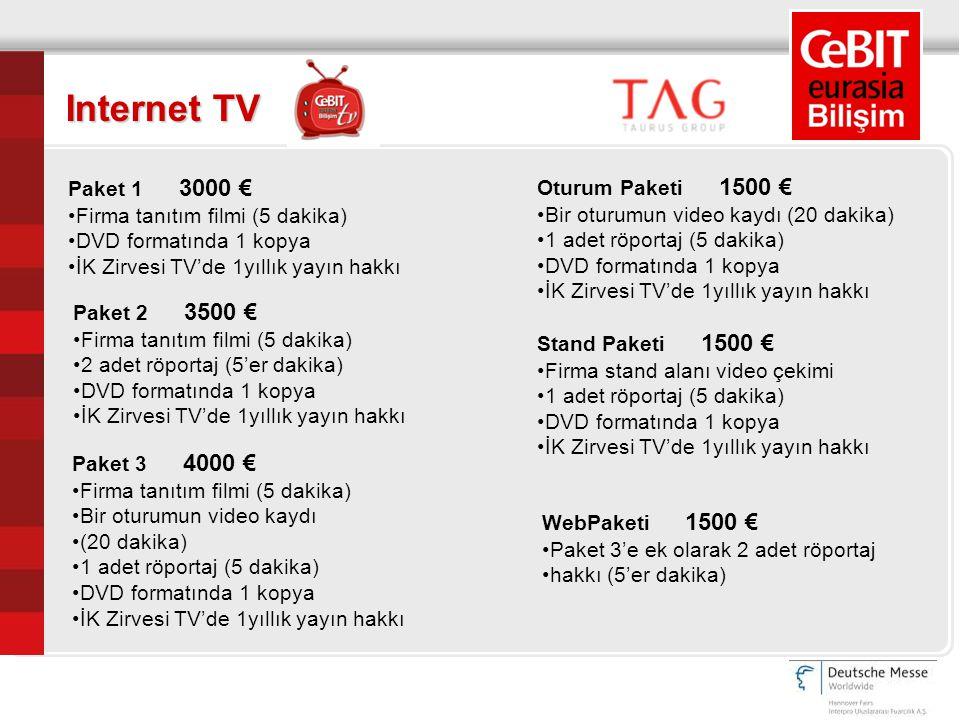 Internet TV Paket 1 3000 € Firma tanıtım filmi (5 dakika) DVD formatında 1 kopya İK Zirvesi TV'de 1yıllık yayın hakkı Paket 2 3500 € Firma tanıtım fil