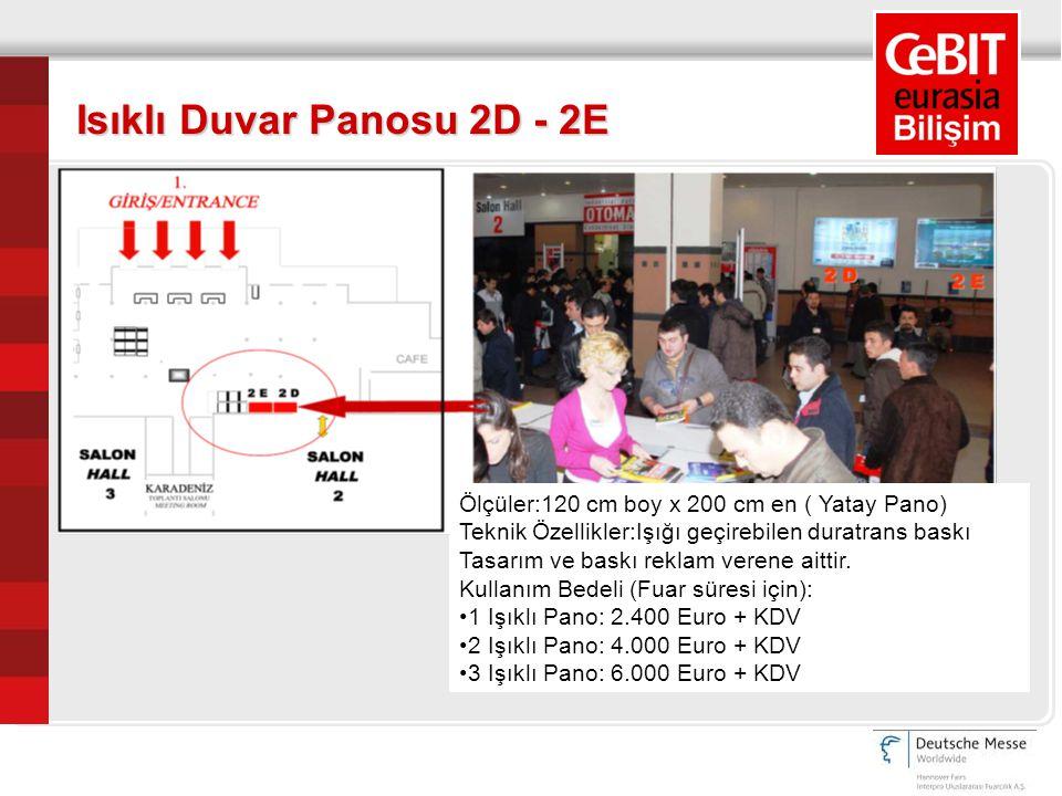 Ölçüler:120 cm boy x 200 cm en (Dikey Pano) Teknik Özellikler:Işığı geçirebilen duratrans baskı Kullanım Bedeli (Fuar süresi için): 1 Işıklı Pano: 2.400 Euro + KDV 2 Işıklı Pano: 4.000 Euro + KDV 3 Işıklı Pano: 6.000 Euro + KDV Isıklı Duvar Panosu 3A – 3B