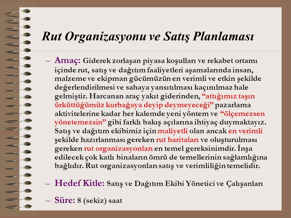 Rut Organizasyonu ve Satış Planlaması –Amaç: Giderek zorlaşan piyasa koşulları ve rekabet ortamı içinde rut, satış ve dağıtım faaliyetleri aşamalarınd
