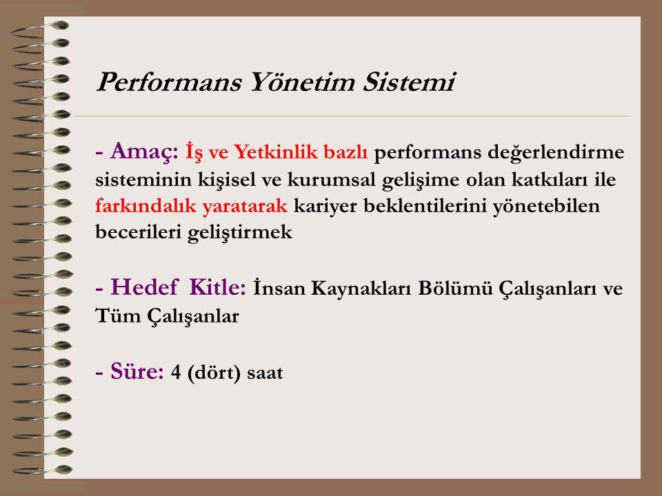 Performans Yönetim Sistemi - Amaç: İş ve Yetkinlik bazlı performans değerlendirme sisteminin kişisel ve kurumsal gelişime olan katkıları ile farkındal
