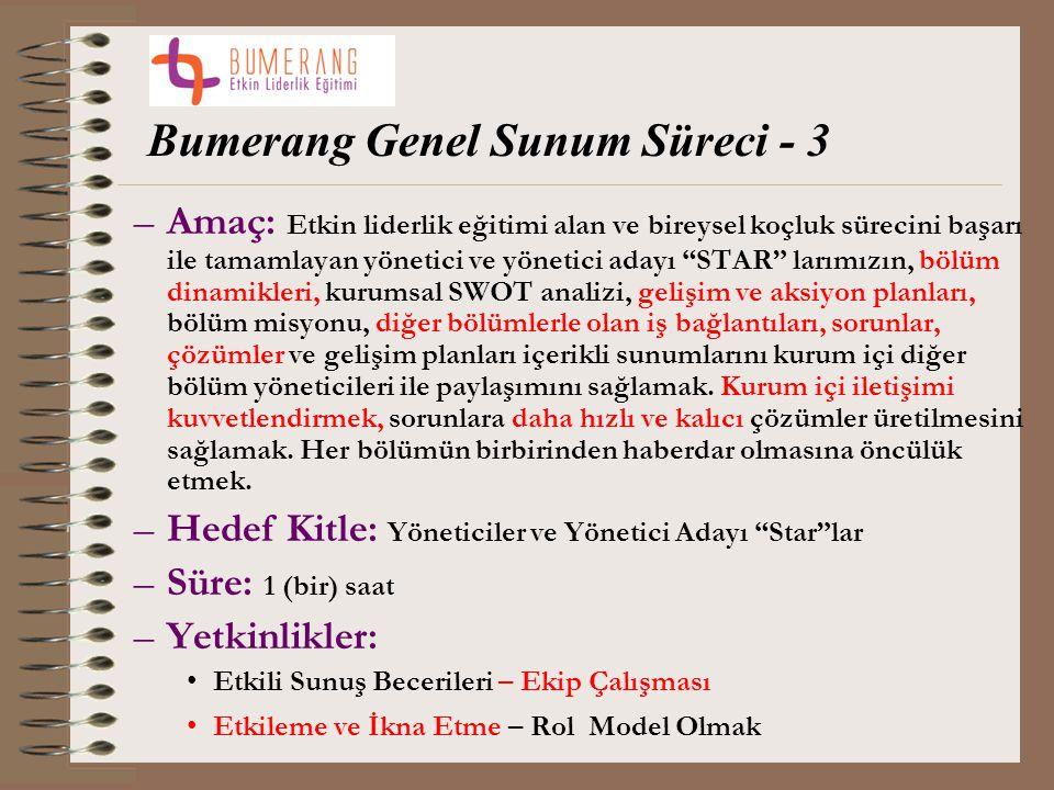 """Bumerang Genel Sunum Süreci - 3 –Amaç: Etkin liderlik eğitimi alan ve bireysel koçluk sürecini başarı ile tamamlayan yönetici ve yönetici adayı """"STAR"""""""