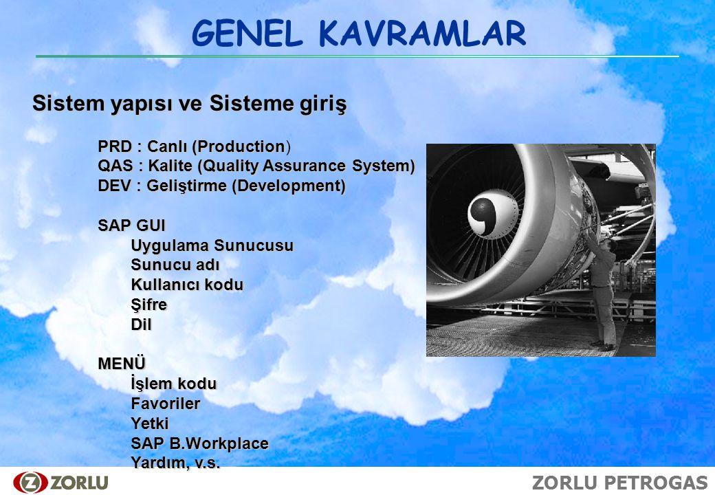 ZORLU PETROGAS GENEL KAVRAMLAR Sistem yapısı ve Sisteme giriş PRD : Canlı (Production PRD : Canlı (Production) QAS : Kalite (Quality Assurance System)