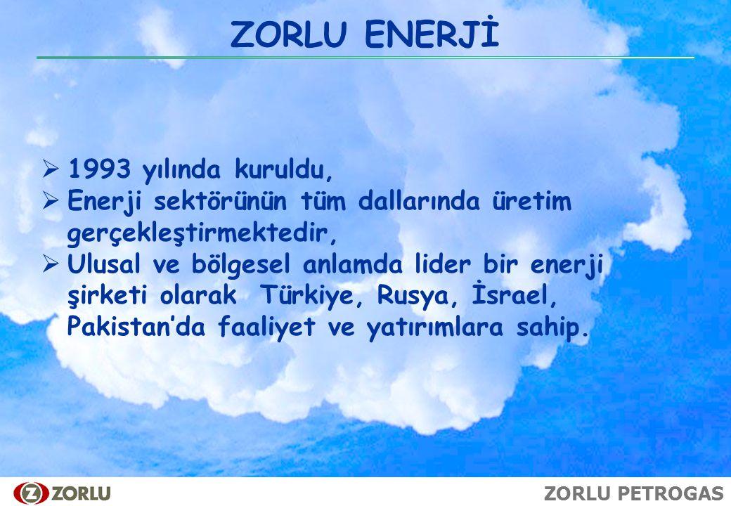 ZORLU PETROGAS ZORLU ENERJİ  1993 yılında kuruldu,  Enerji sektörünün tüm dallarında üretim gerçekleştirmektedir,  Ulusal ve bölgesel anlamda lider