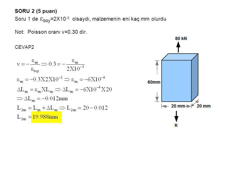 SORU 2 (5 puan) Soru 1 de ɛ boy =2X10 -3 olsaydı, malzemenin eni kaç mm olurdu Not: Poisson oranı ν=0.30 dir. CEVAP2