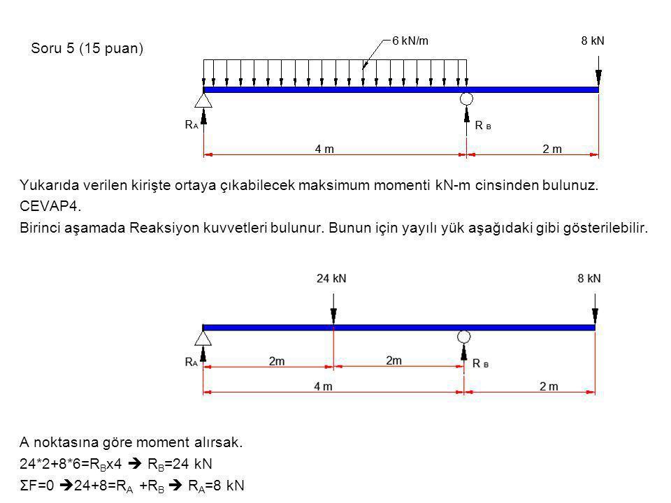 Yukarıda verilen kirişte ortaya çıkabilecek maksimum momenti kN-m cinsinden bulunuz. CEVAP4. Birinci aşamada Reaksiyon kuvvetleri bulunur. Bunun için