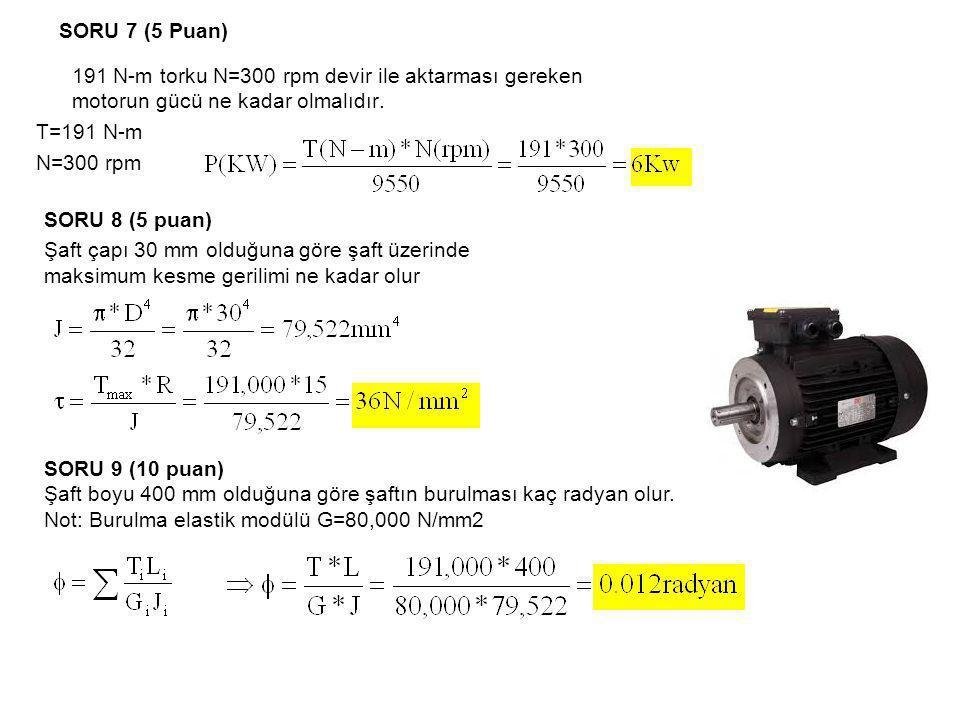 SORU 7 (5 Puan) 191 N-m torku N=300 rpm devir ile aktarması gereken motorun gücü ne kadar olmalıdır. T=191 N-m N=300 rpm SORU 8 (5 puan) Şaft çapı 30